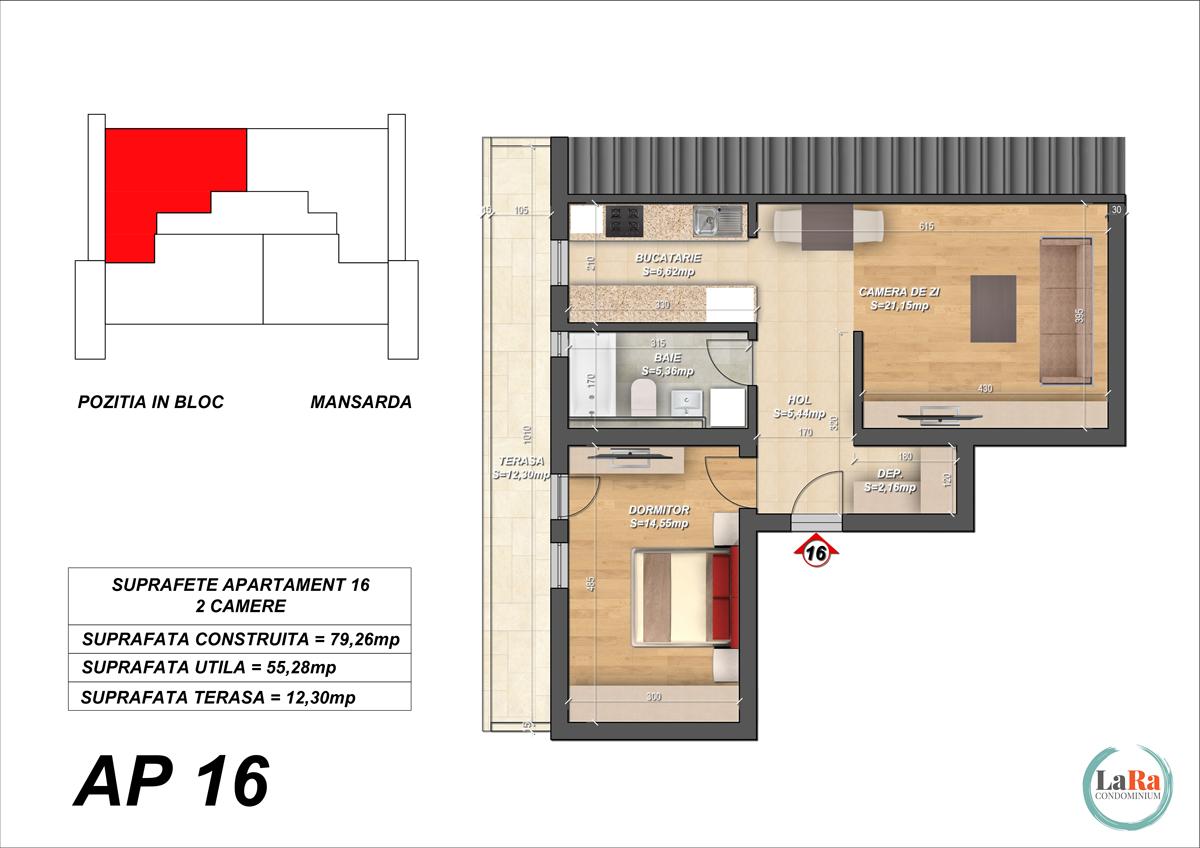 Plansa-Apartament-16-Faza-1-2-cu acoperis de tabla-LaRa-Condominium