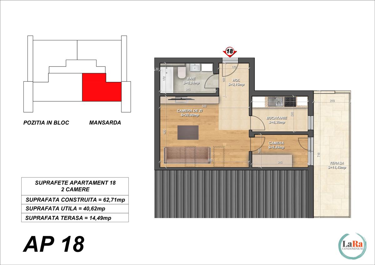 Plansa-Apartament-18-Faza-1-2-cu acoperis de tabla-LaRa-Condominium